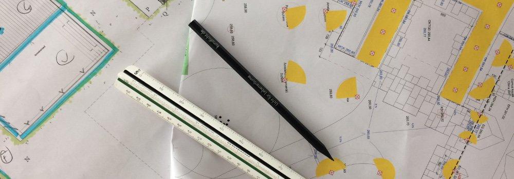 Technischer Plan mit Lichtplanung
