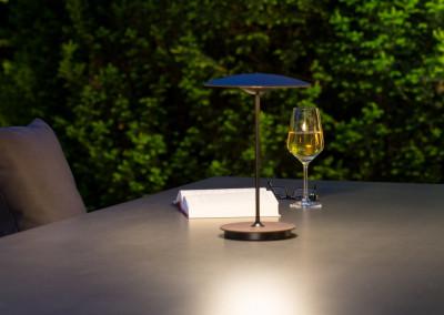 Mobile Leuchte, Einsatz auf der Terrasse